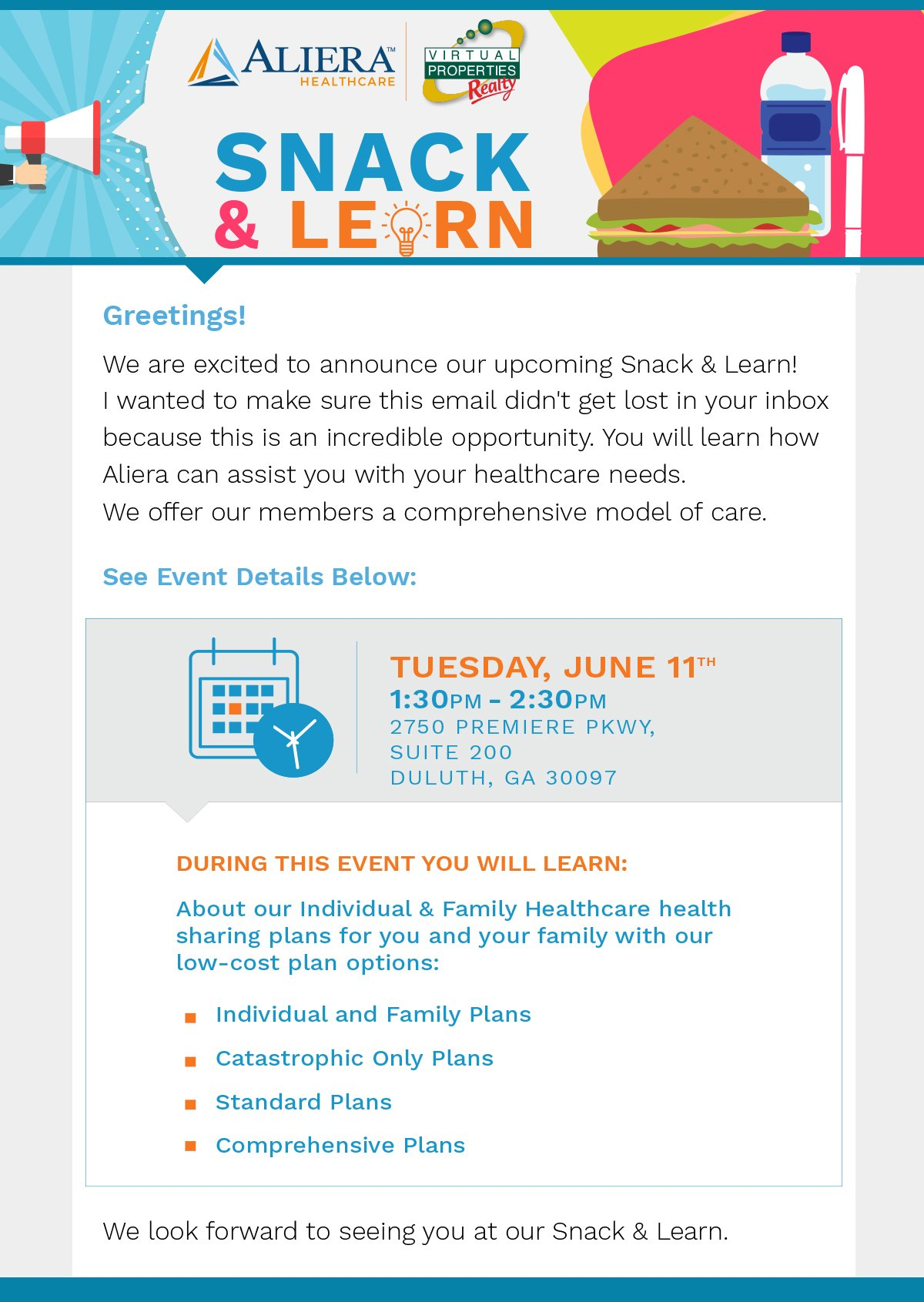 Info Meeting – Real Estate Agent Healthcare Coverage – SNACK